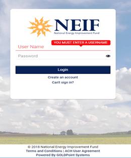 NEIF account login screen